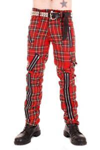 Tiger of London Mens Punk Rock Zip Bondage Red Tartan Pants.