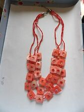 Pretty dyed pink mother of pearl and glass seed bead triple strand necklace 40_7
