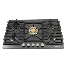 "30"" Kitchen Black Titanium 5 Burners & Gold Built-in Stoves LPG/NG Gas Cooktops"