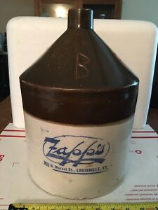 Antique Advertising ZAPP'S Whiskey Stoneware Jug LOUISVILLE KY Moonshine Vintage