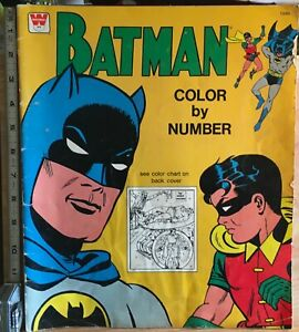 Vintage, Rare BATMAN COLOUR BY NUMBER Colouring Book,Published By WHITMAN 1966