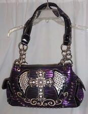 Purple Black Rhinestone Cross Angel Wings Animal Print Shoulder Bag Medium