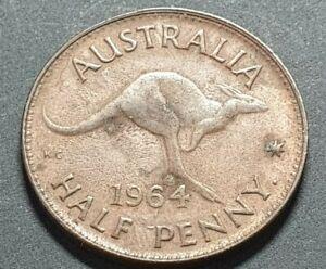 Error Australian 1964  Half Penny Dash before Penny Rare R7