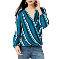INC NEW Women's Striped Surplice Blouse Shirt Top TEDO