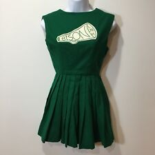 Vintage 60s Cheerleader Uniform Dress Wool Green Pleated Bison Size Xs