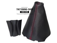For Renault Laguna III 07-14 Gear Gaiter + Knob Cover Black Leather Red Stitch