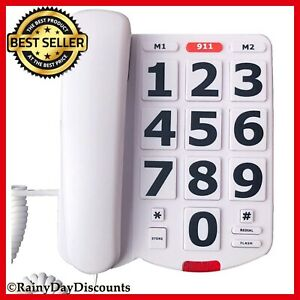 Corded Big Button Landline Phone For Seniors With Louder Ringer Desk Home Phone