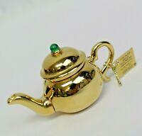 Estee Lauder 2002 Solid Perfume Compact Gold Tone Little Teapot MIBB Pleasures