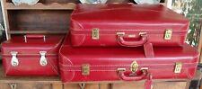 Ensemble de voyage bagagerie vintage cuir rouge 2 valises 1 vanity