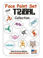10 Piece Tribal Face Paint Set Facepaint Kit Stencils Cupcake COOKIES
