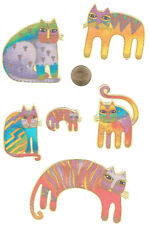LAUREL BURCH FANTASTIC FELINES PASTEL FABRIC APPLIQUE - 6 PCS