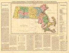 Antiguo Mapa del Estado de Massachusetts. incluye Boston Esquina. condados. Buchon 1825