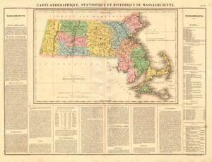 Massachusetts antique state map. Includes Boston Corner. Counties. BUCHON 1825
