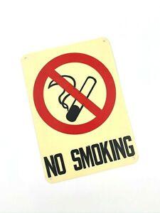 "VINTAGE ""NO SMOKING"" Plastic Red, White, Black Wall Sign"