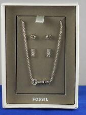 Fossil Brand Stainless Skeleton Key Necklace Stud Earrings Set JGFTSET1016 $100