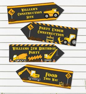 4 Personalised Construction Building Site Diggers Party Decoration Arrows
