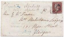 * 1847 BLUE UDC SUTTON ON DERWENT - YORK =930= NUMERAL 4 MARGIN 1d IMPERF COVER