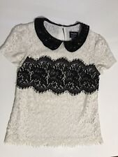 Anthropologie Lace Latitude Blouse By Peter Som x Made In Kind B/W Size 0