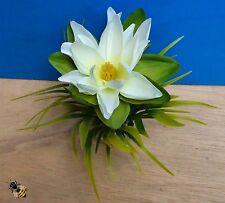 Aquarium ornement lotus soie fleur plant fish tank bowl décoration blanc nouveau