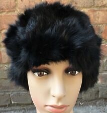 3846cac5a6e Jet Black real genuine rabbit fur pelt ear warmer headband unisex hat