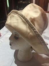 Vintage Tea Ivory Silk Bucket Cloche Top Antique Hat