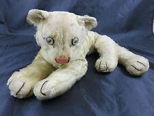Schöner Alter Steiff Löwenbaby Weiß G. Länge ca. 52 cm innen mit Stroh gefüllt