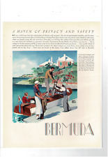 Vintage Bermuda Haven Man Women Golf Clubs Boat Adolph Treidler Ad Print G843