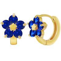 18k Gold Plated Navy Blue Flower Huggie Hoops Teens Womens Earrings