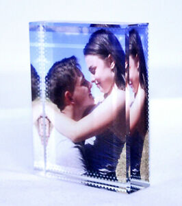 Personalised Small Rectangular Photo Crystal Glass Block with Gift Box