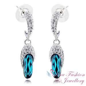 18K White Gold Plated Made With Swarovski Crystal Stunning Teal Slipper Earrings