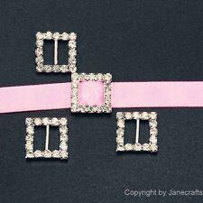 50 Pcs Square Rhinestone Buckle Invitation Ribbon Slider For Wedding Supplies