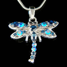 w Swarovski Crystal ~BLUE DRAGONFLY~ Bridal Wedding Charm Pendant Chain Necklace