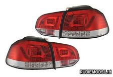 VW Golf Mk6 2009 onwards Red and Clear LED Rear Lights OEM GTi and R Look