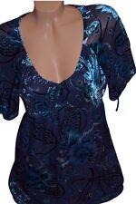Hale Bob Vintage 90's Blue Velvet Babydoll Rose Top Shirt Paisley Cap Sleeve S