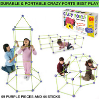 New Durable & Portable Crazy Forts Best Play With 69 Purple Pieces And 44 Sticks