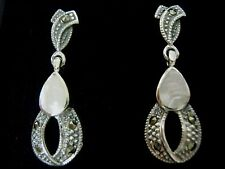 Sterling Silver White Mother of pearl Marcasite 25mm Drop Earrings Victorian