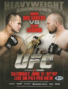 JUNIOR DOS SANTOS SIGNED AUTO'D MINI POSTER BAS COA UFC 131 CHAMPION 146 VS CAIN
