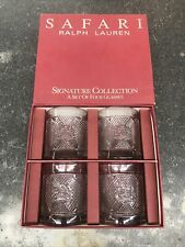 RALPH LAUREN Safari Signature Collection Set - 4 GLASSES & Box COCKTAIL TUMBLERS