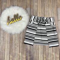 CAbi Women Grandstand Skirt Size Medium Tie Waist Pull On Pockets Striped 5185