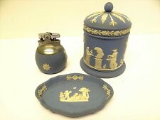 Mixed Vintage Lot Used Blue Wedgwood 1957 Tray Lighter Jar 1953 Ronson China