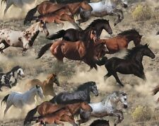 Elizabeth's Studio Happy Trails Herd of Horses 100% cotton fabric by the yard
