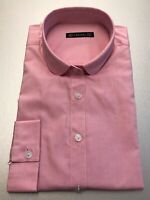 Women's Size Large Pink 100% Cotton Long Sleeved Shirt with Round Collar- Laszel