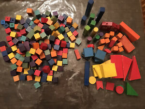 Vintage Colorful Wooden Building Blocks- Lot of 300+ Pieces, Smooth Finish