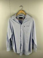 RB Sellars Cullam Poplin Men's Long Sleeve Shirt - Size XL - Blue White Check