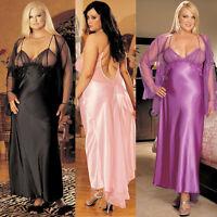 Plus Size Lingerie Size 1X 2X 3X Black Pink Purple Charmeuse Long Gown SOHX20116