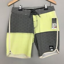 Quiksilver Mens Swim Board Shorts Trunk Surf Yellow Gray Size 30 NWT New