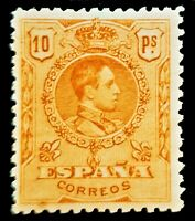 SPAIN 1909  ☆ 10P with SLAB ☆ KING ALFONSO XIII ☆ MNH  ☆ RARE in Never Hinged ☆