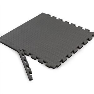 "Xspec 1"" Extra Thick Reversible EVA Foam Gym Mats 12 pcs 48 Sq Ft, Black & Grey"