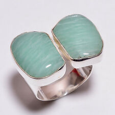 925 Sterling Silver Ring Size US 7.25, Amazonite Gemstone Pair Jewelry CR3844