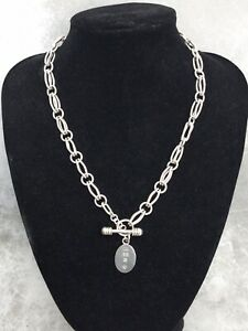 """Stylish Solid 925 Silver Heavy Fancy Link T Bar & Toggle Necklace 19"""" 68 Grams"""